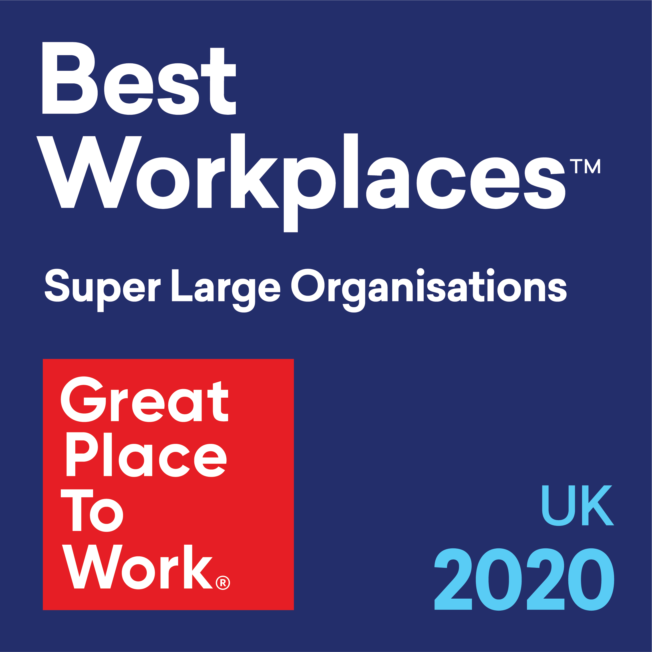 Great Place to Work UK 2020 Super Large Organisation